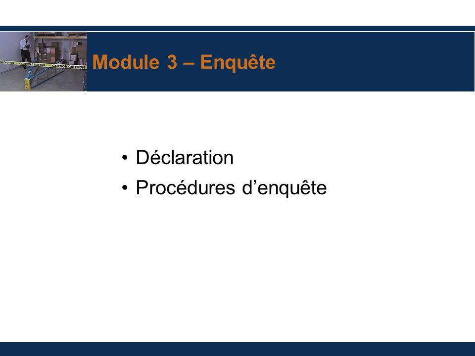 Module 3 – Enquête Déclaration Procédures denquête