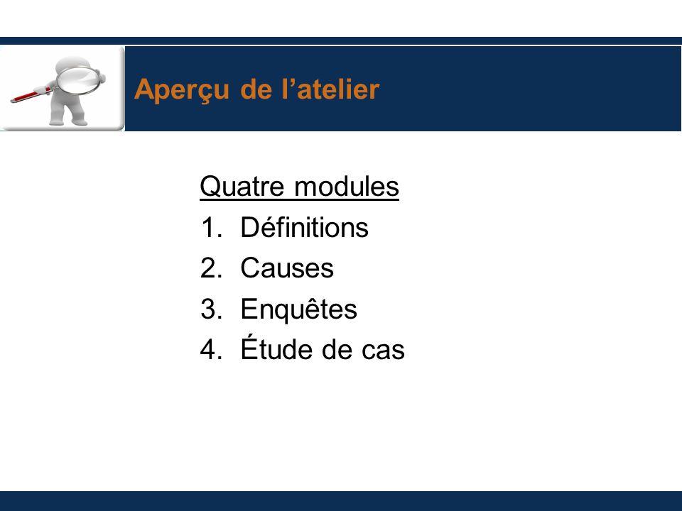 Aperçu de latelier Quatre modules 1. Définitions 2. Causes 3. Enquêtes 4. Étude de cas