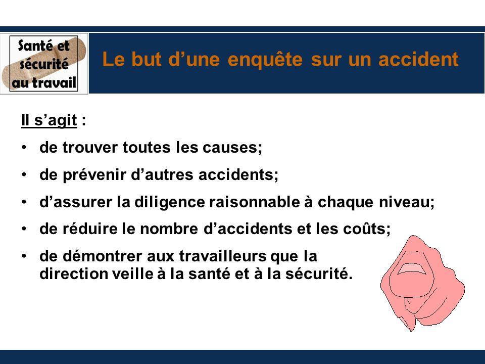 Il sagit : de trouver toutes les causes; de prévenir dautres accidents; dassurer la diligence raisonnable à chaque niveau; de réduire le nombre daccid