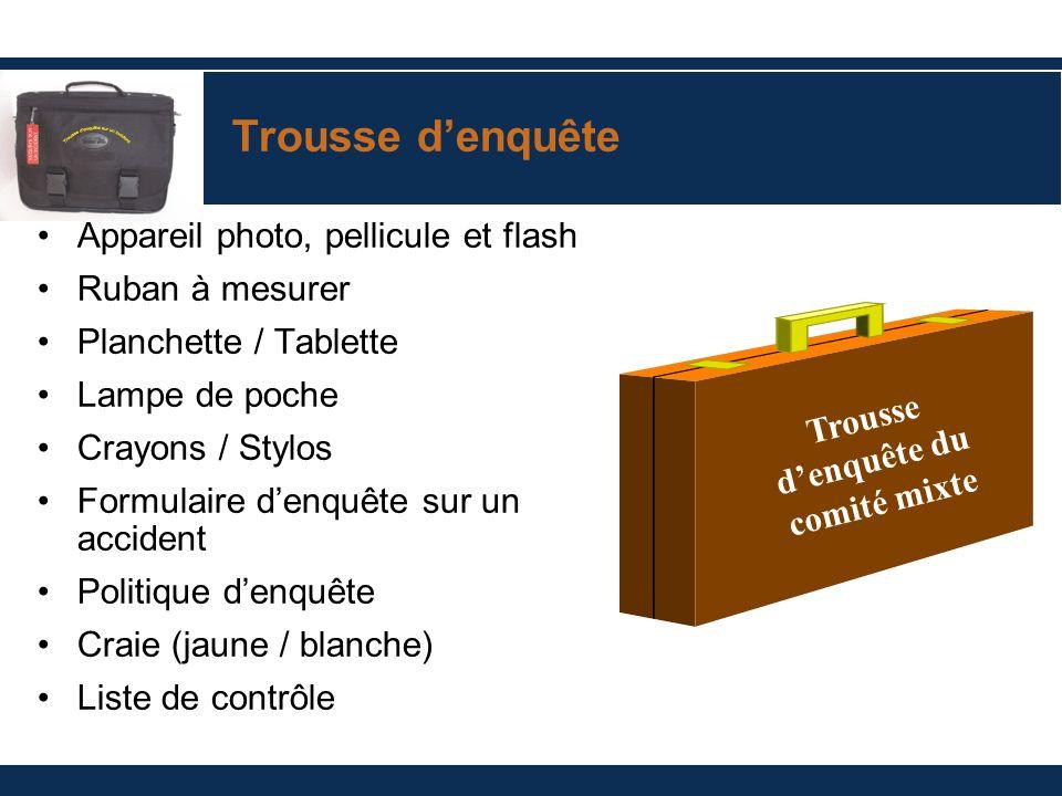 Trousse denquête Appareil photo, pellicule et flash Ruban à mesurer Planchette / Tablette Lampe de poche Crayons / Stylos Formulaire denquête sur un a
