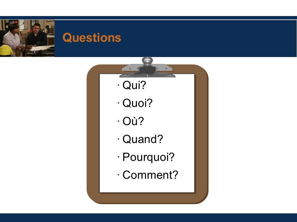 Questions ·Qui? ·Quoi? ·Où? ·Quand? ·Pourquoi? ·Comment?