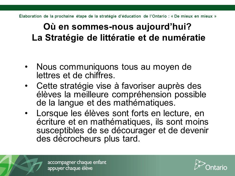 Élaboration de la prochaine étape de la stratégie déducation de lOntario : « De mieux en mieux » Où en sommes-nous aujourdhui? La Stratégie de littéra