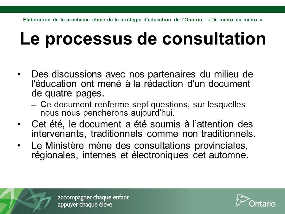 Élaboration de la prochaine étape de la stratégie déducation de lOntario : « De mieux en mieux » Le processus de consultation Des discussions avec nos