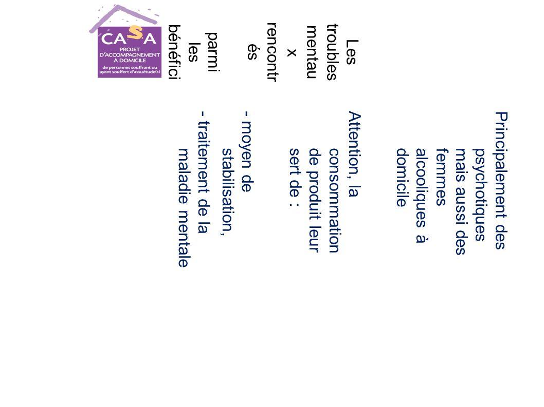 Les troubles mentau x rencontr és parmi les bénéfici aires du projet CASA Principalement des psychotiquesmais aussi desfemmesalcooliques àdomicile Attention, la consommationde produit leursert de : - moyen de stabilisation, - traitement de la maladie mentale