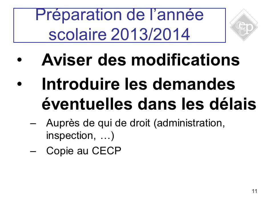 11 Aviser des modifications Introduire les demandes éventuelles dans les délais –Auprès de qui de droit (administration, inspection, …) –Copie au CECP Préparation de lannée scolaire 2013/2014