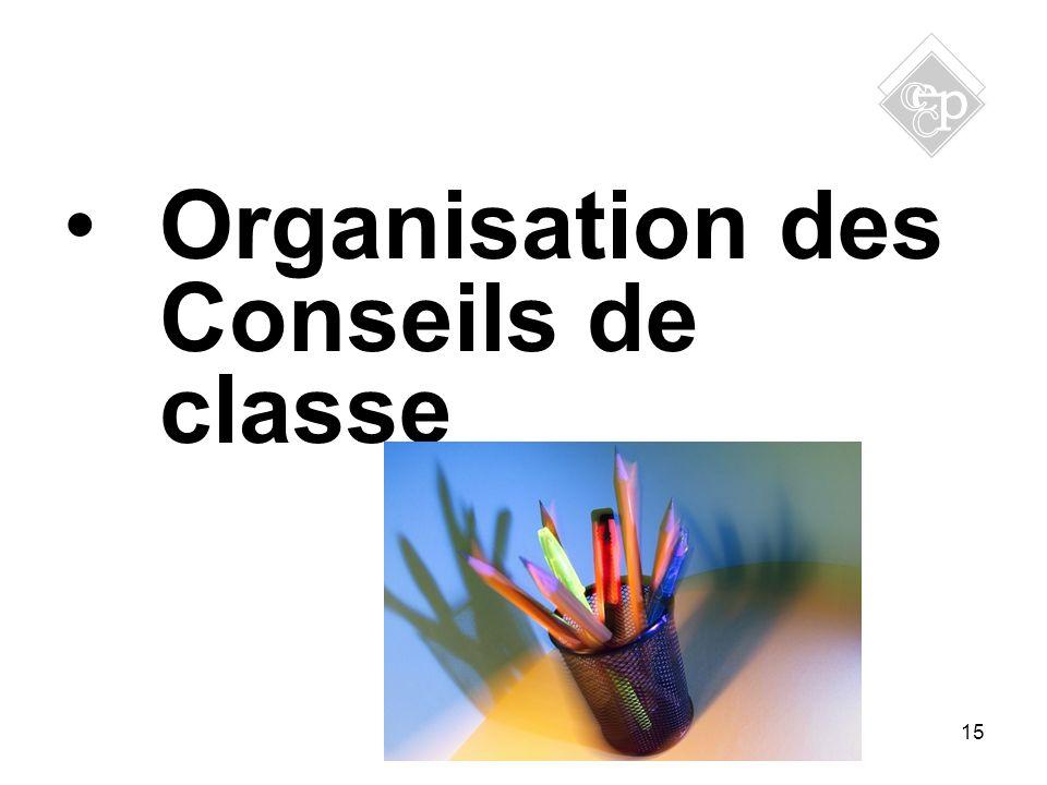 15 Organisation des Conseils de classe