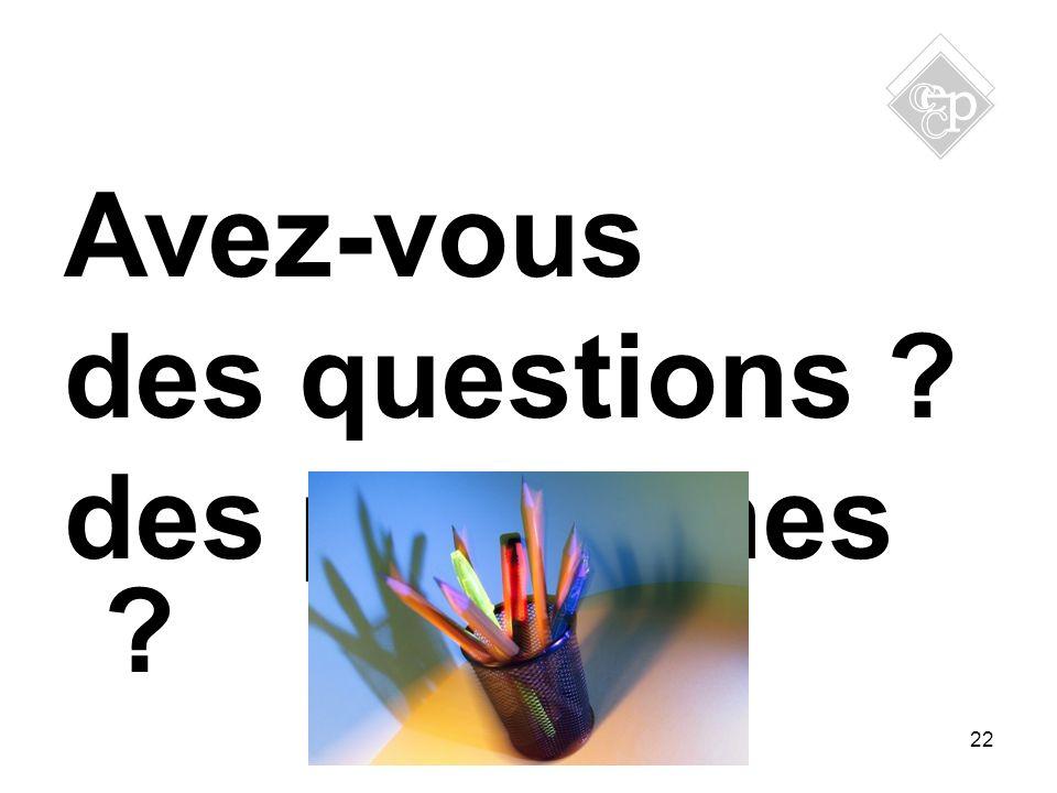 Avez-vous des questions ? des problèmes ? 22