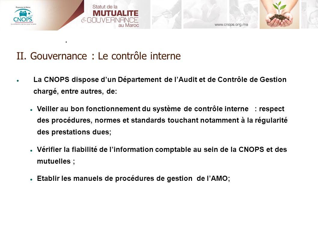 II. Gouvernance : Le contrôle interne. La CNOPS dispose dun Département de lAudit et de Contrôle de Gestion chargé, entre autres, de: Veiller au bon f