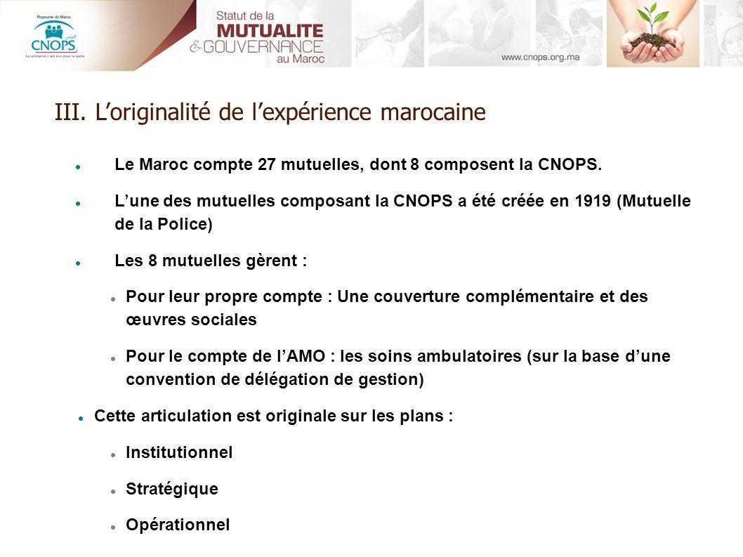 Le Maroc compte 27 mutuelles, dont 8 composent la CNOPS. Lune des mutuelles composant la CNOPS a été créée en 1919 (Mutuelle de la Police) Les 8 mutue