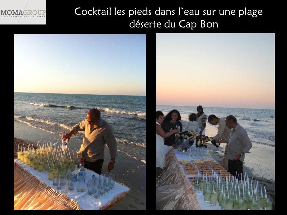 Cocktail les pieds dans leau sur une plage déserte du Cap Bon