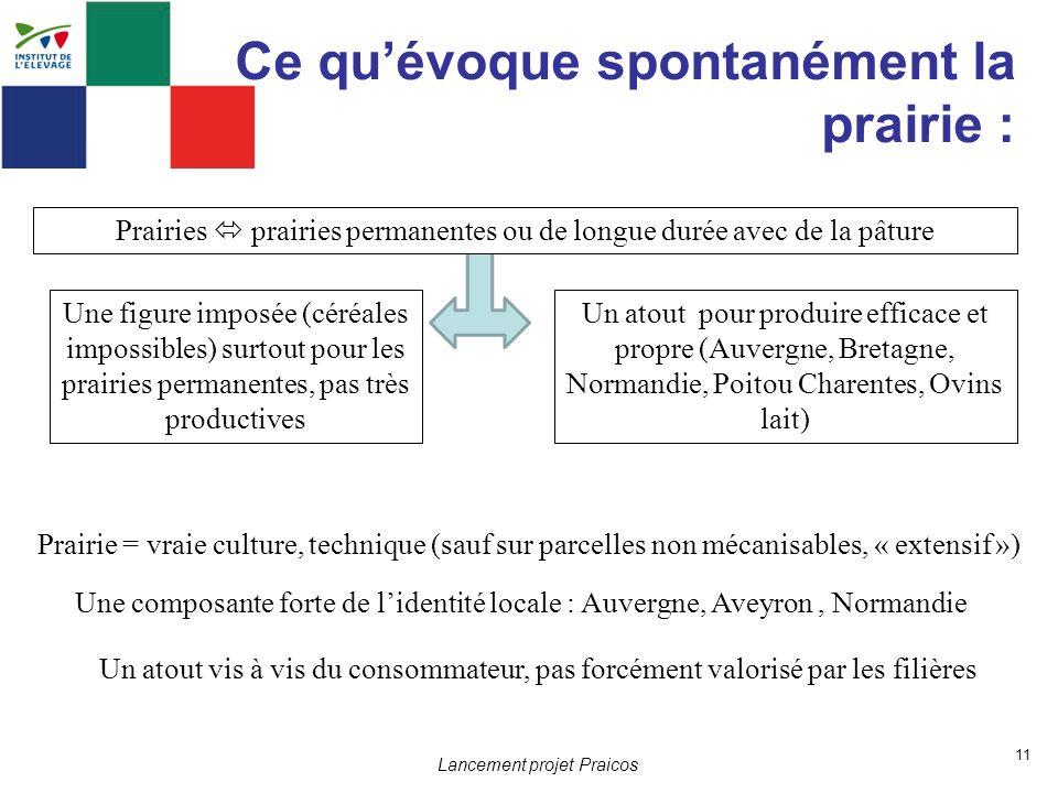 11 Lancement projet Praicos Ce quévoque spontanément la prairie : Une composante forte de lidentité locale : Auvergne, Aveyron, Normandie Une figure i