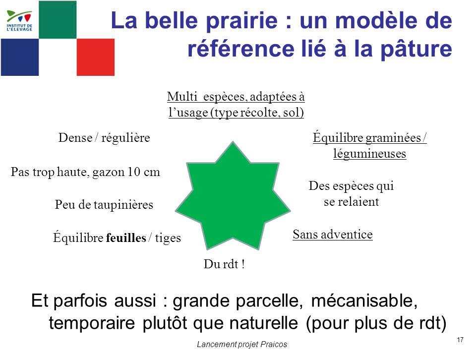 17 Lancement projet Praicos La belle prairie : un modèle de référence lié à la pâture Et parfois aussi : grande parcelle, mécanisable, temporaire plut