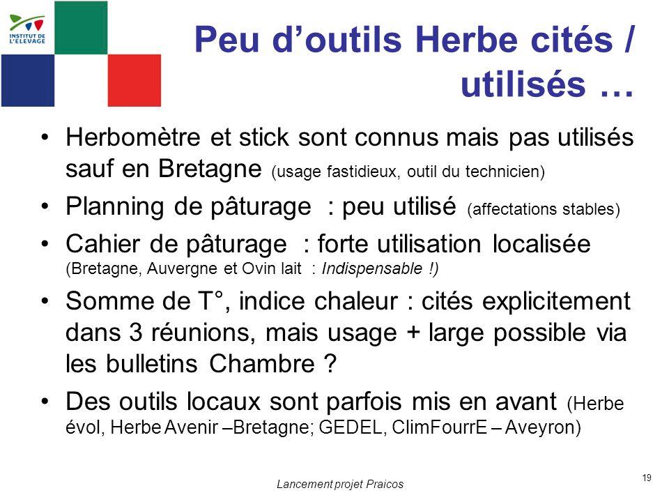 19 Lancement projet Praicos Peu doutils Herbe cités / utilisés … Herbomètre et stick sont connus mais pas utilisés sauf en Bretagne (usage fastidieux,
