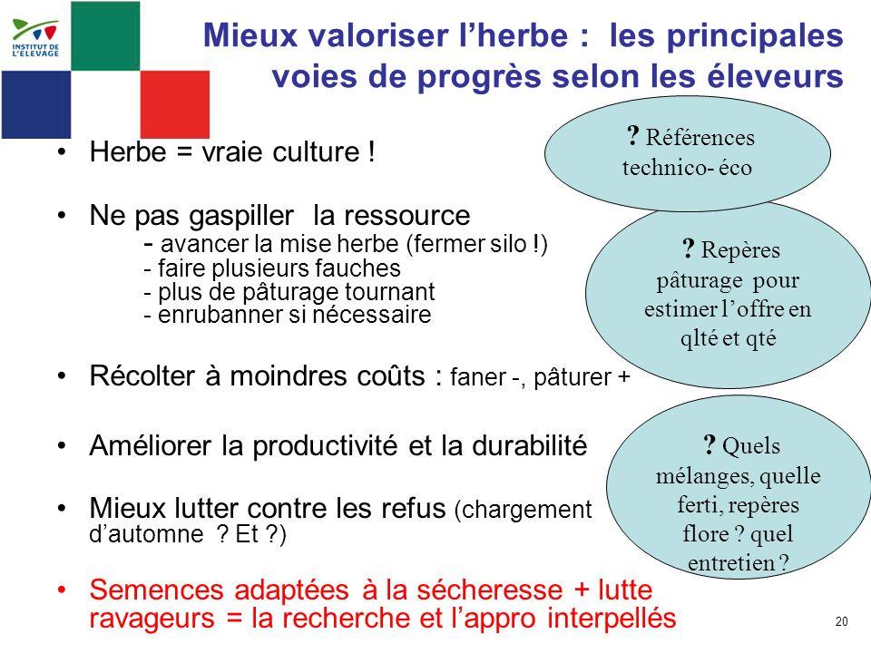 20 Mieux valoriser lherbe : les principales voies de progrès selon les éleveurs Herbe = vraie culture ! Ne pas gaspiller la ressource - avancer la mis