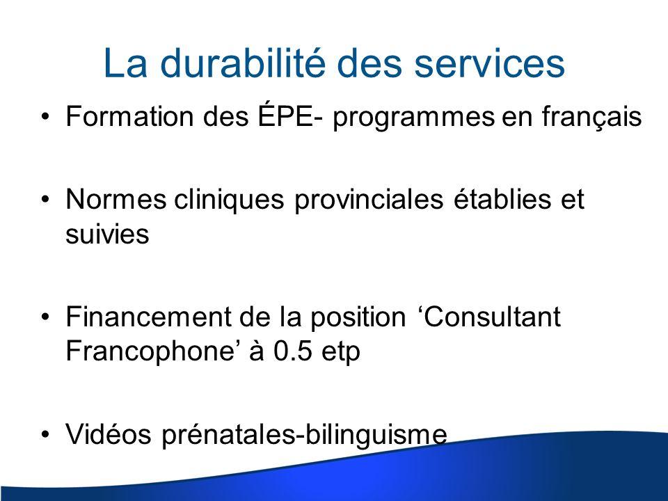 La durabilité des services Formation des ÉPE- programmes en français Normes cliniques provinciales établies et suivies Financement de la position Consultant Francophone à 0.5 etp Vidéos prénatales-bilinguisme