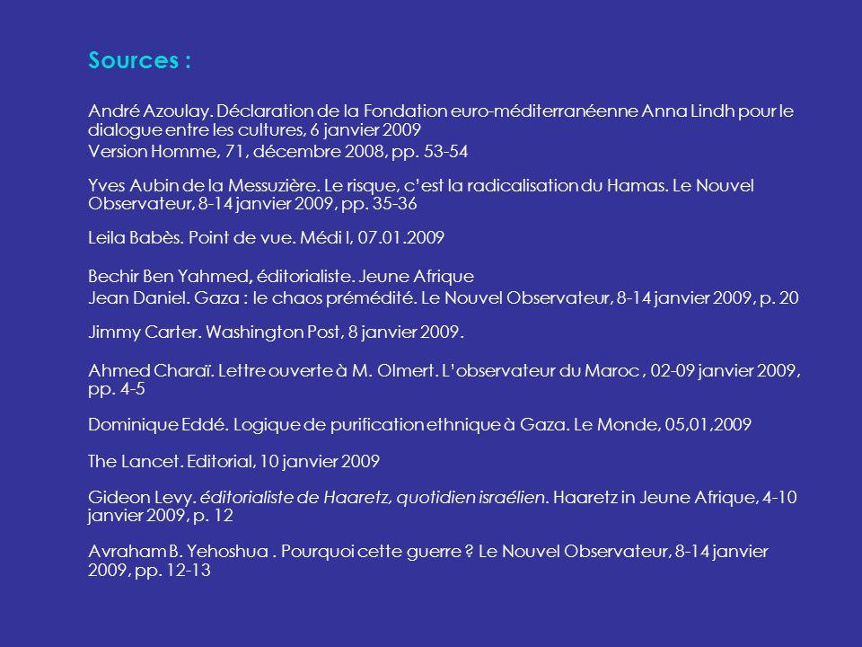 Sources : André Azoulay. Déclaration de la Fondation euro-méditerranéenne Anna Lindh pour le dialogue entre les cultures, 6 janvier 2009 Version Homme