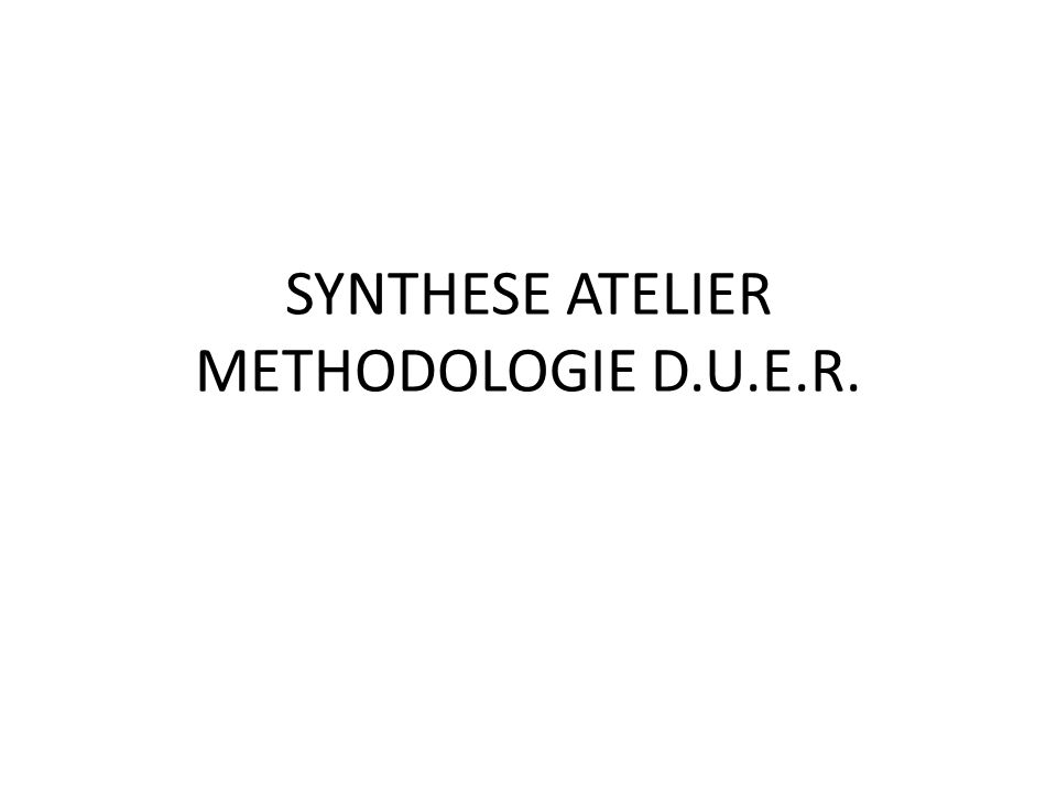 SYNTHESE ATELIER METHODOLOGIE D.U.E.R.