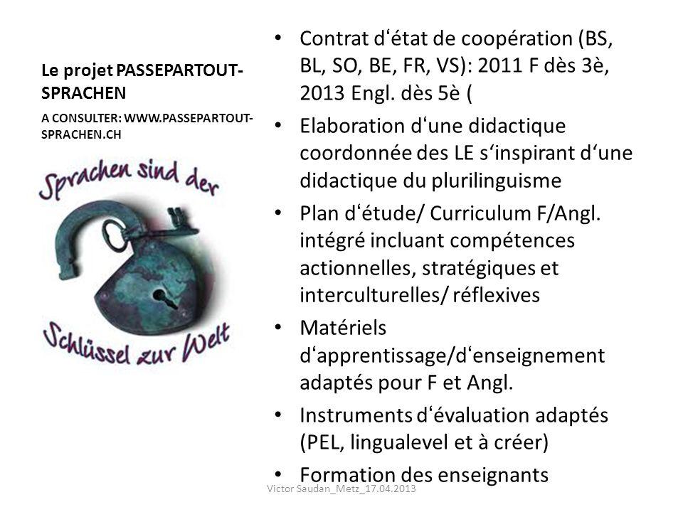 Le projet PASSEPARTOUT- SPRACHEN Contrat détat de coopération (BS, BL, SO, BE, FR, VS): 2011 F dès 3è, 2013 Engl. dès 5è ( Elaboration dune didactique