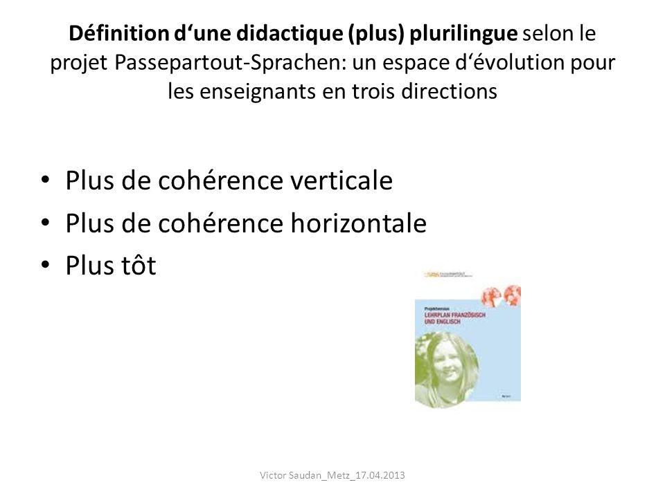 Définition dune didactique (plus) plurilingue selon le projet Passepartout-Sprachen: un espace dévolution pour les enseignants en trois directions Plu