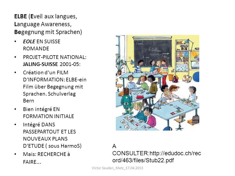 ELBE (Eveil aux langues, Language Awareness, Begegnung mit Sprachen) EOLE EN SUISSE ROMANDE PROJET-PILOTE NATIONAL: JALING-SUISSE 2001-05: Création du