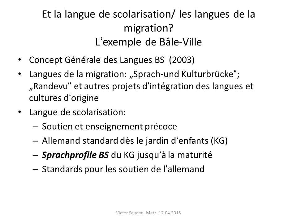 Et la langue de scolarisation/ les langues de la migration? Lexemple de Bâle-Ville Concept Générale des Langues BS (2003) Langues de la migration: Spr