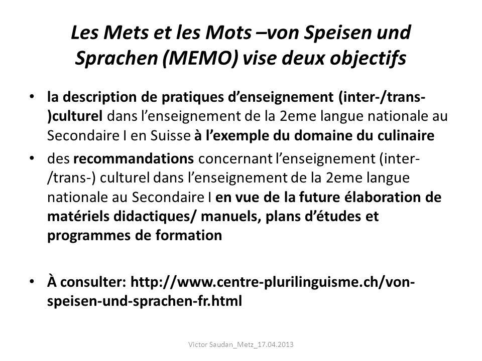 Les Mets et les Mots –von Speisen und Sprachen (MEMO) vise deux objectifs la description de pratiques denseignement (inter-/trans- )culturel dans lens