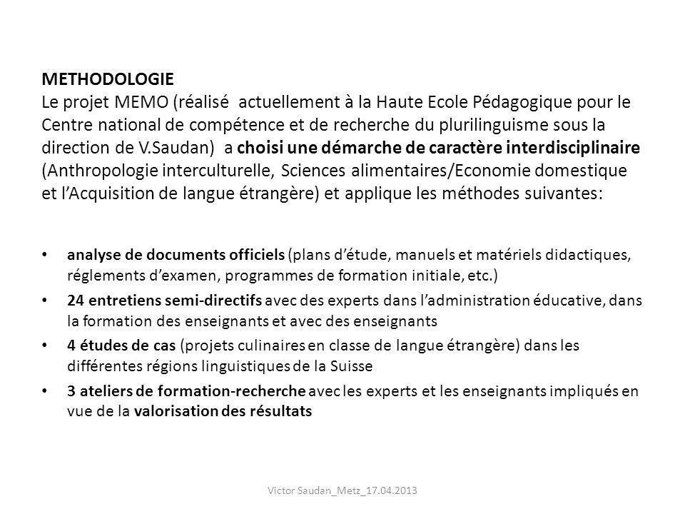 METHODOLOGIE Le projet MEMO (réalisé actuellement à la Haute Ecole Pédagogique pour le Centre national de compétence et de recherche du plurilinguisme