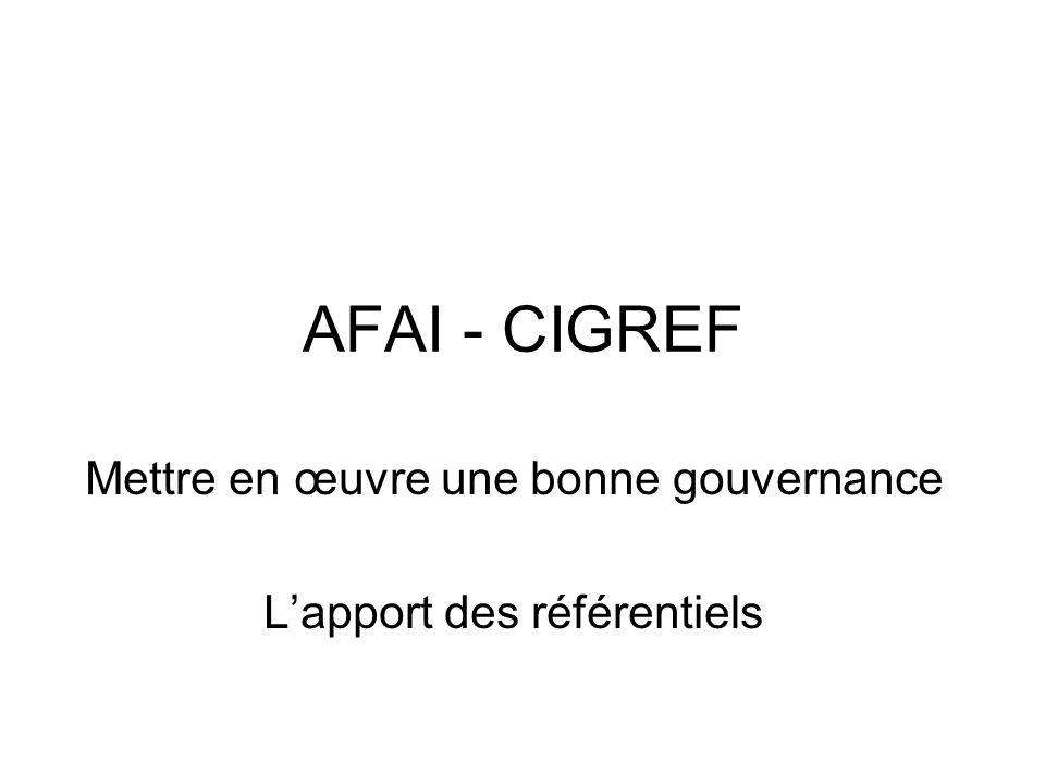 AFAI - CIGREF Mettre en œuvre une bonne gouvernance Lapport des référentiels
