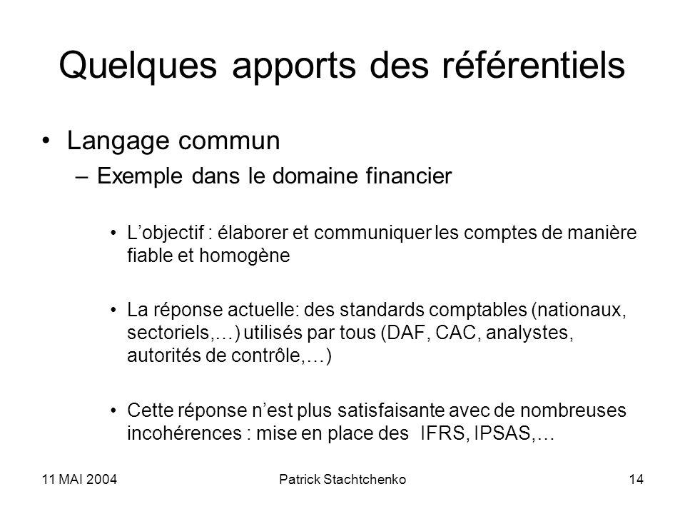 11 MAI 2004Patrick Stachtchenko14 Quelques apports des référentiels Langage commun –Exemple dans le domaine financier Lobjectif : élaborer et communiq