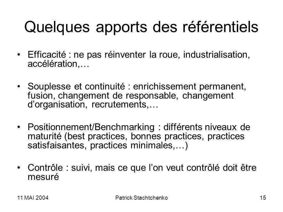 11 MAI 2004Patrick Stachtchenko15 Quelques apports des référentiels Efficacité : ne pas réinventer la roue, industrialisation, accélération,… Soupless