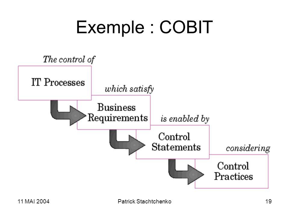 11 MAI 2004Patrick Stachtchenko19 Exemple : COBIT