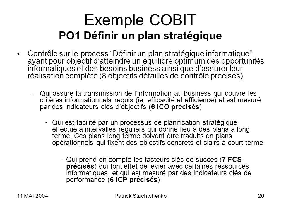 11 MAI 2004Patrick Stachtchenko20 Exemple COBIT PO1 Définir un plan stratégique Contrôle sur le process Définir un plan stratégique informatique ayant