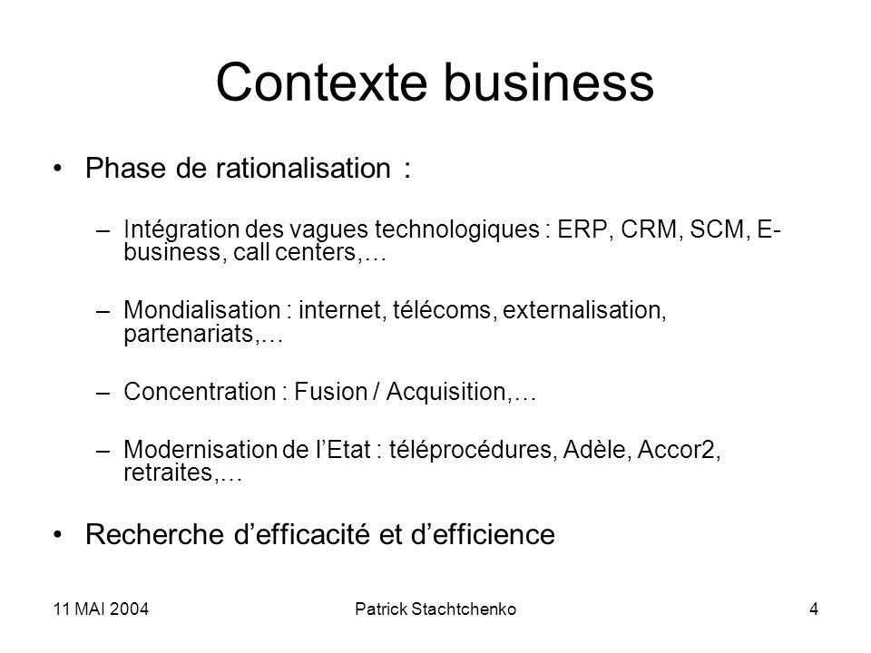 11 MAI 2004Patrick Stachtchenko4 Contexte business Phase de rationalisation : –Intégration des vagues technologiques : ERP, CRM, SCM, E- business, cal