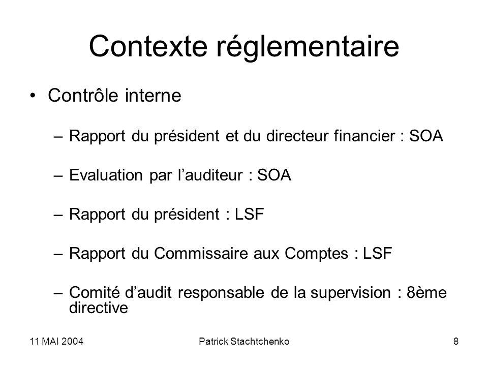 11 MAI 2004Patrick Stachtchenko8 Contexte réglementaire Contrôle interne –Rapport du président et du directeur financier : SOA –Evaluation par laudite