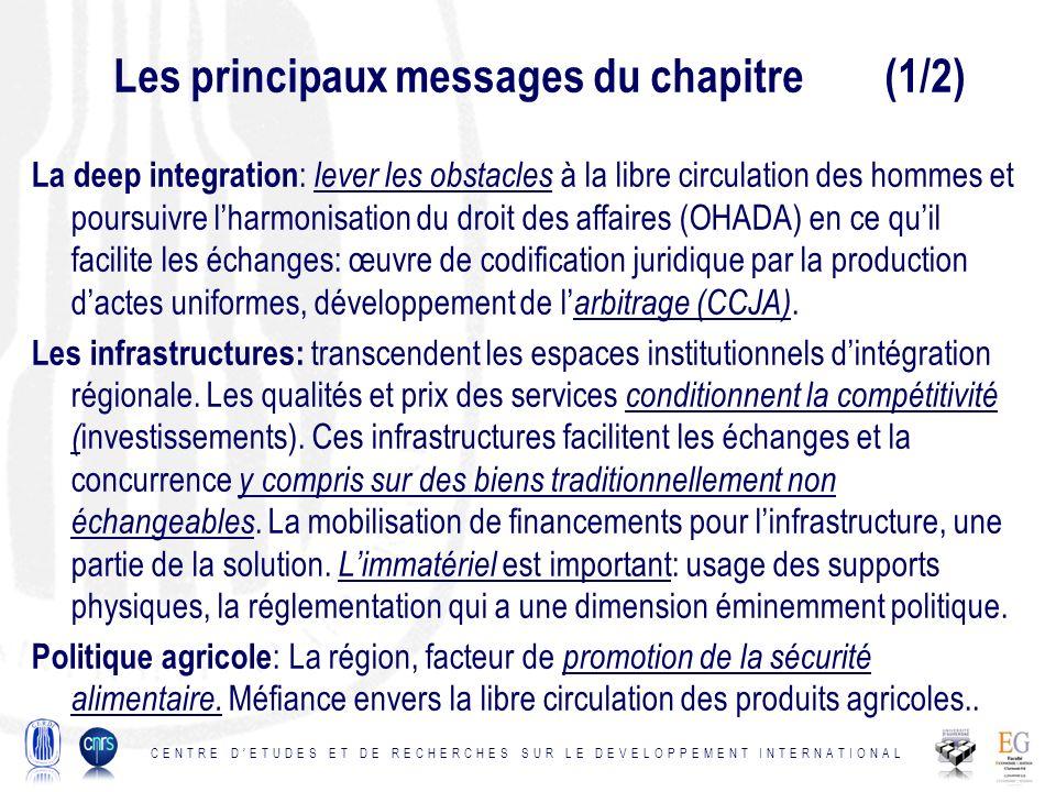Les principaux messages du chapitre (1/2) La deep integration : lever les obstacles à la libre circulation des hommes et poursuivre lharmonisation du droit des affaires (OHADA) en ce quil facilite les échanges: œuvre de codification juridique par la production dactes uniformes, développement de l arbitrage (CCJA).