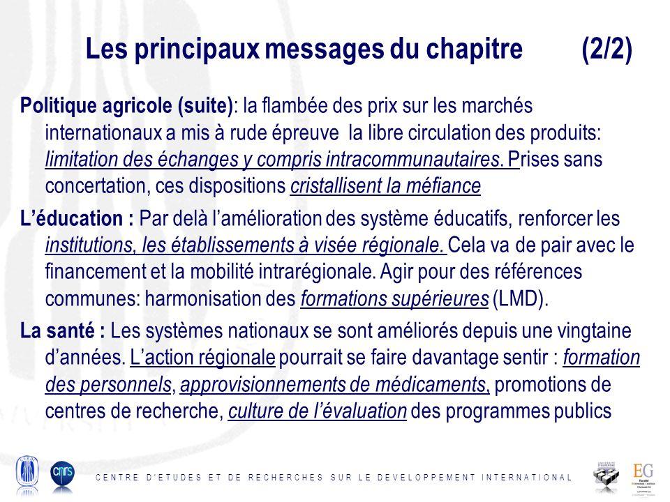 Les principaux messages du chapitre (2/2) Politique agricole (suite) : la flambée des prix sur les marchés internationaux a mis à rude épreuve la libre circulation des produits: limitation des échanges y compris intracommunautaires.