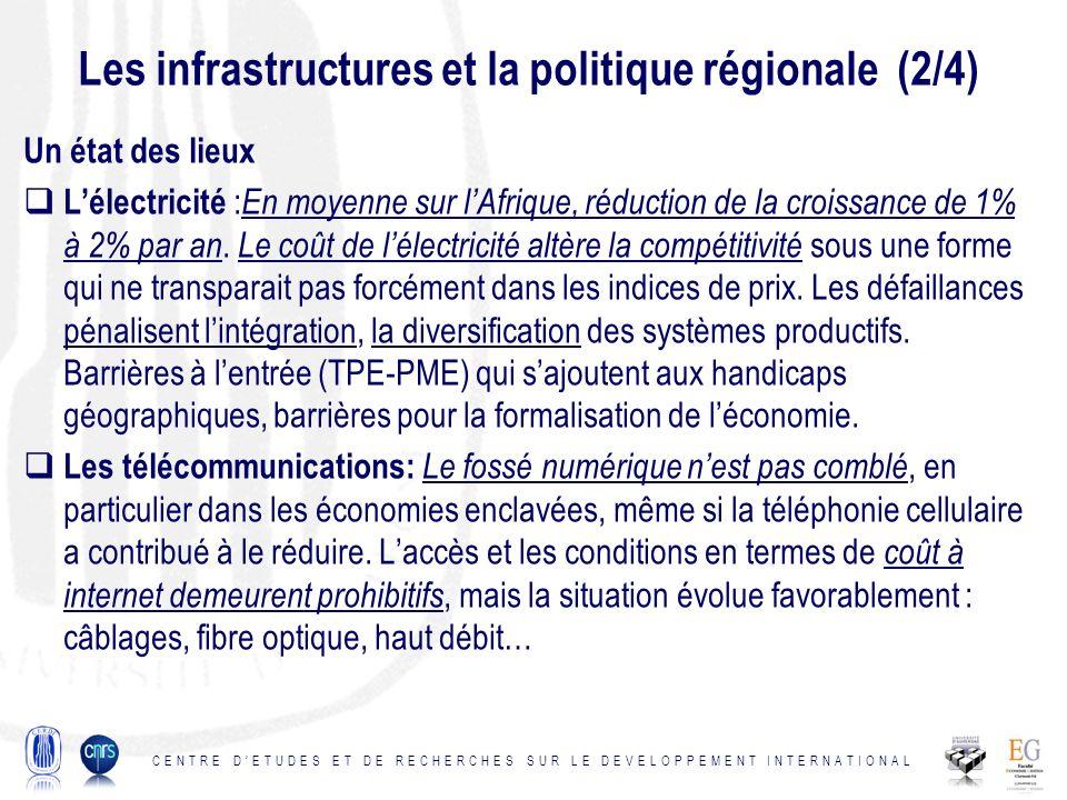 Les infrastructures et la politique régionale (2/4) Un état des lieux Lélectricité : En moyenne sur lAfrique, réduction de la croissance de 1% à 2% par an.