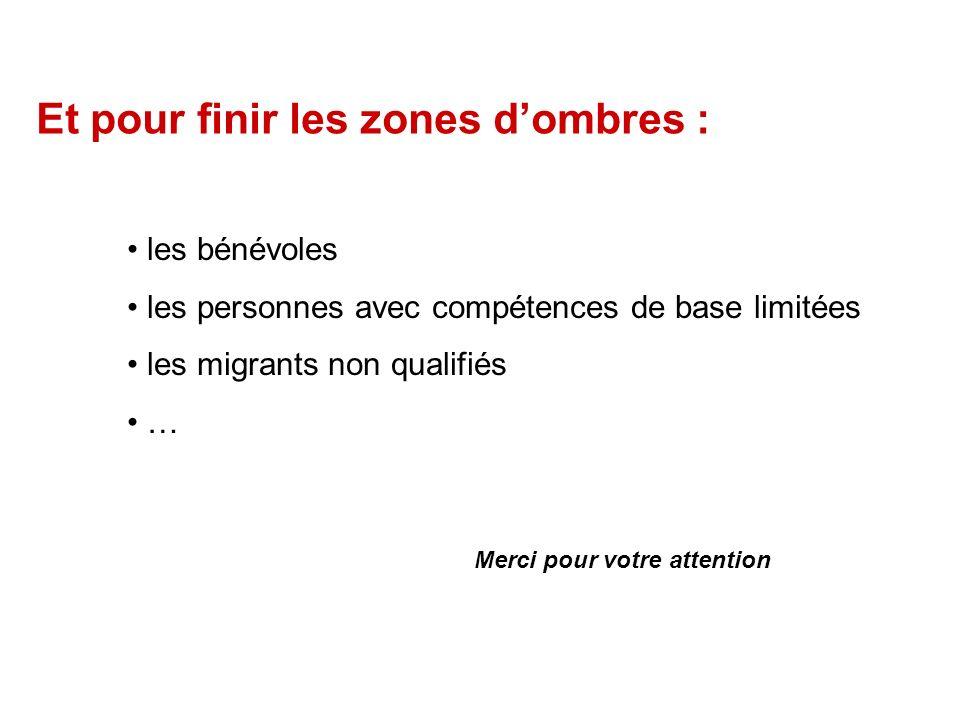 Et pour finir les zones dombres : les bénévoles les personnes avec compétences de base limitées les migrants non qualifiés … Merci pour votre attention