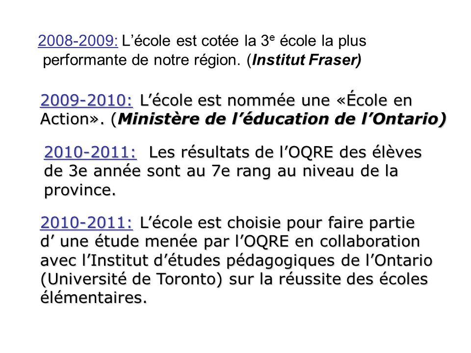 2008-2009: Lécole est cotée la 3 e école la plus performante de notre région. (Institut Fraser) 2009-2010: Lécole est nommée une «École en Action». (M