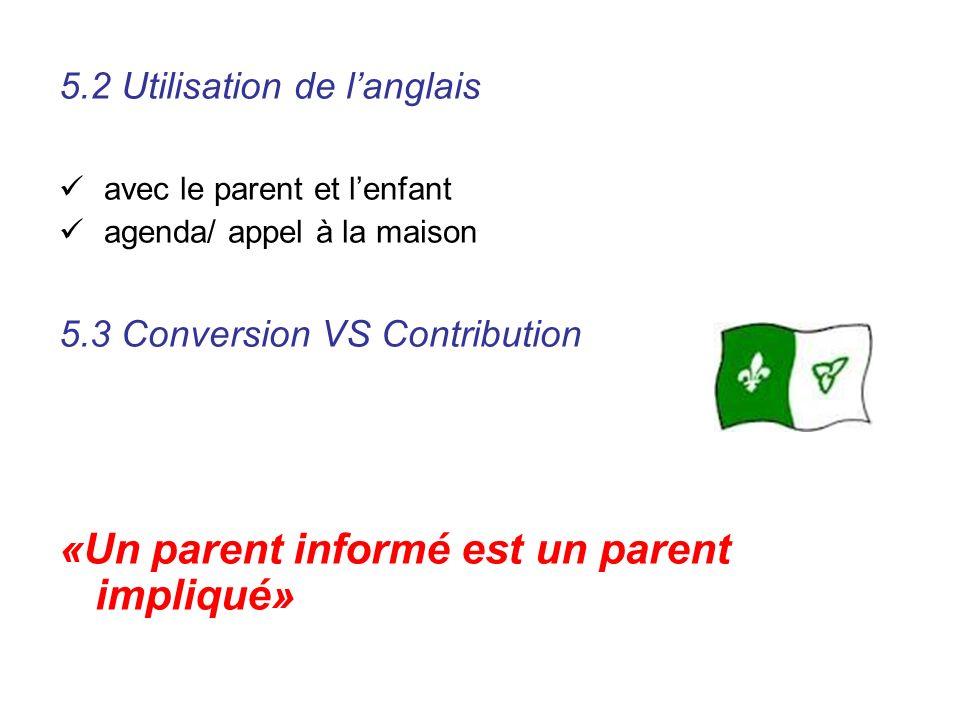 5.2 Utilisation de langlais avec le parent et lenfant agenda/ appel à la maison 5.3 Conversion VS Contribution «Un parent informé est un parent impliq