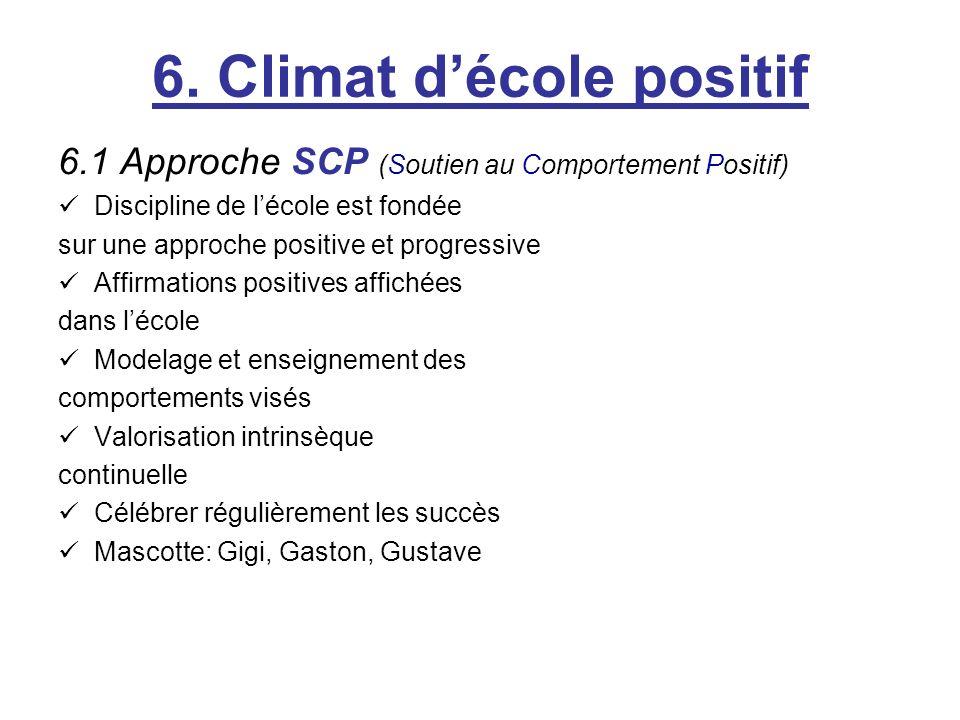 6. Climat décole positif 6.1 Approche SCP (Soutien au Comportement Positif) Discipline de lécole est fondée sur une approche positive et progressive A