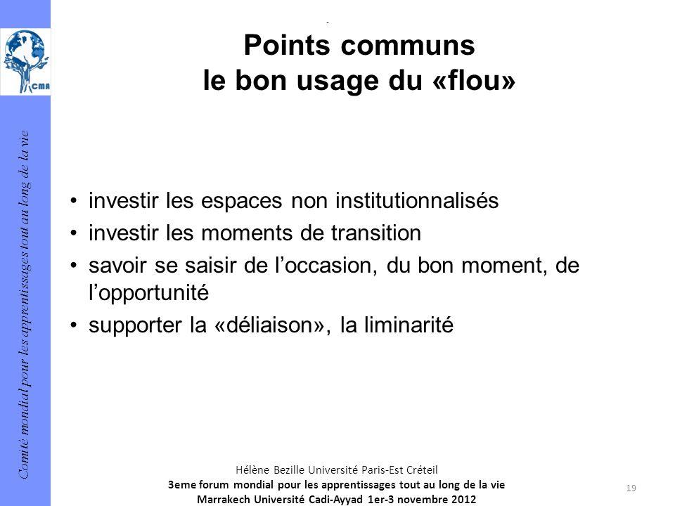 Comité mondial pour les apprentissages tout au long de la vie 19 Hélène Bezille Université Paris-Est Créteil 3eme forum mondial pour les apprentissage