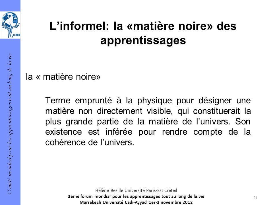 Comité mondial pour les apprentissages tout au long de la vie 21 Hélène Bezille Université Paris-Est Créteil 3eme forum mondial pour les apprentissage
