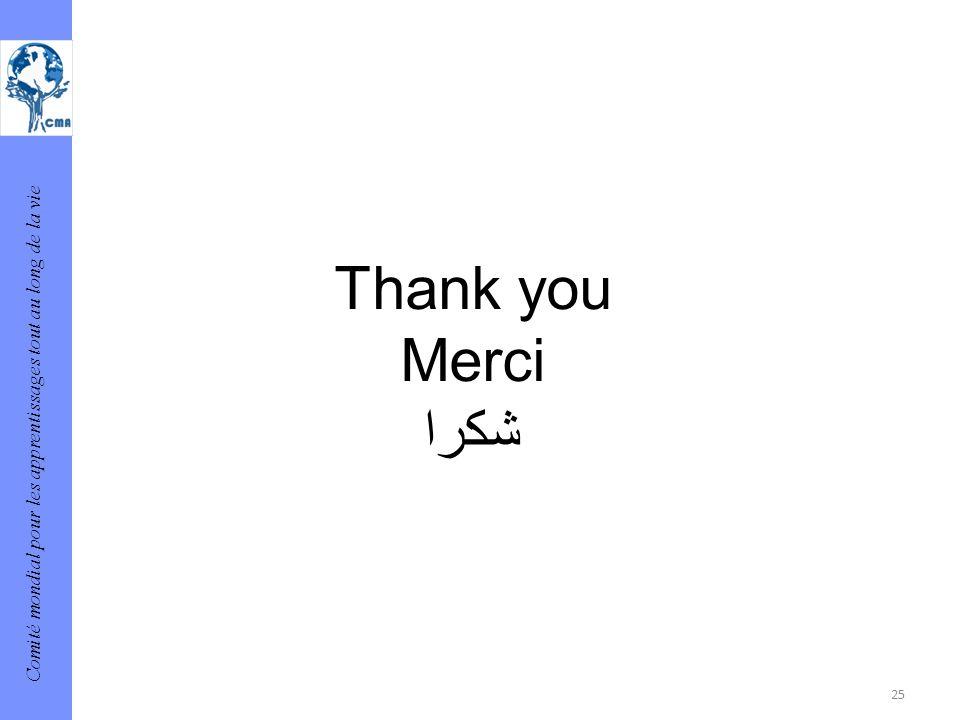 Comité mondial pour les apprentissages tout au long de la vie 25 Thank you Merci شكرا
