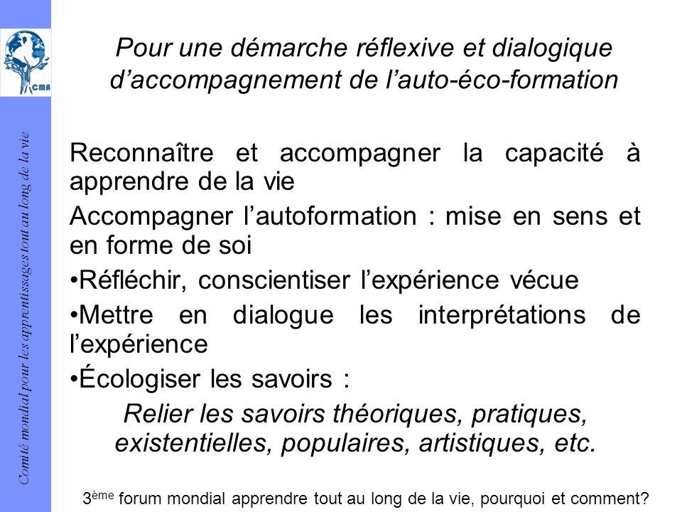 Comité mondial pour les apprentissages tout au long de la vie Pour une démarche réflexive et dialogique daccompagnement de lauto-éco-formation Reconna