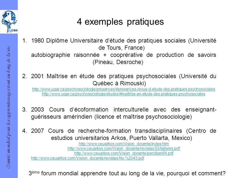 Comité mondial pour les apprentissages tout au long de la vie 4 exemples pratiques 1.1980 Diplôme Universitaire détude des pratiques sociales (Univers