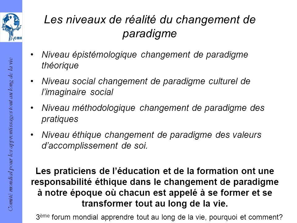 Comité mondial pour les apprentissages tout au long de la vie Les niveaux de réalité du changement de paradigme Niveau épistémologique changement de p