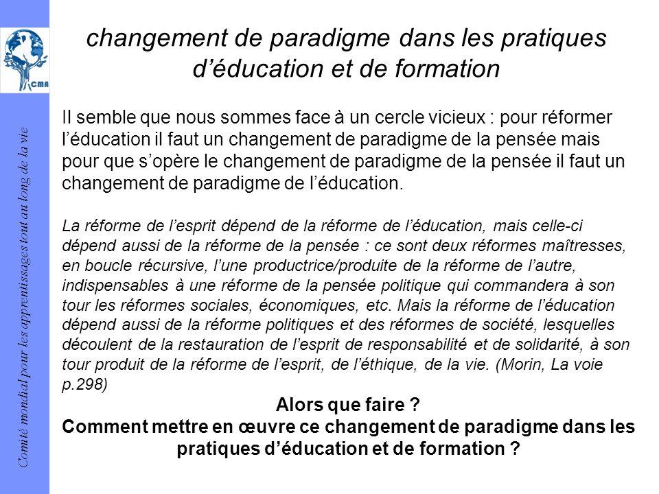Comité mondial pour les apprentissages tout au long de la vie changement de paradigme dans les pratiques déducation et de formation Il semble que nous