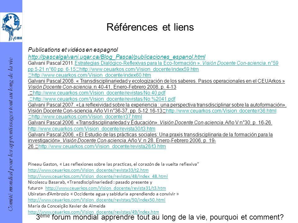 Comité mondial pour les apprentissages tout au long de la vie Références et liens Publications et vidéos en espagnol http://pascalgalvani.uqar.ca/Blog