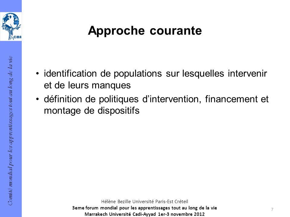Comité mondial pour les apprentissages tout au long de la vie 7 Hélène Bezille Université Paris-Est Créteil 3eme forum mondial pour les apprentissages
